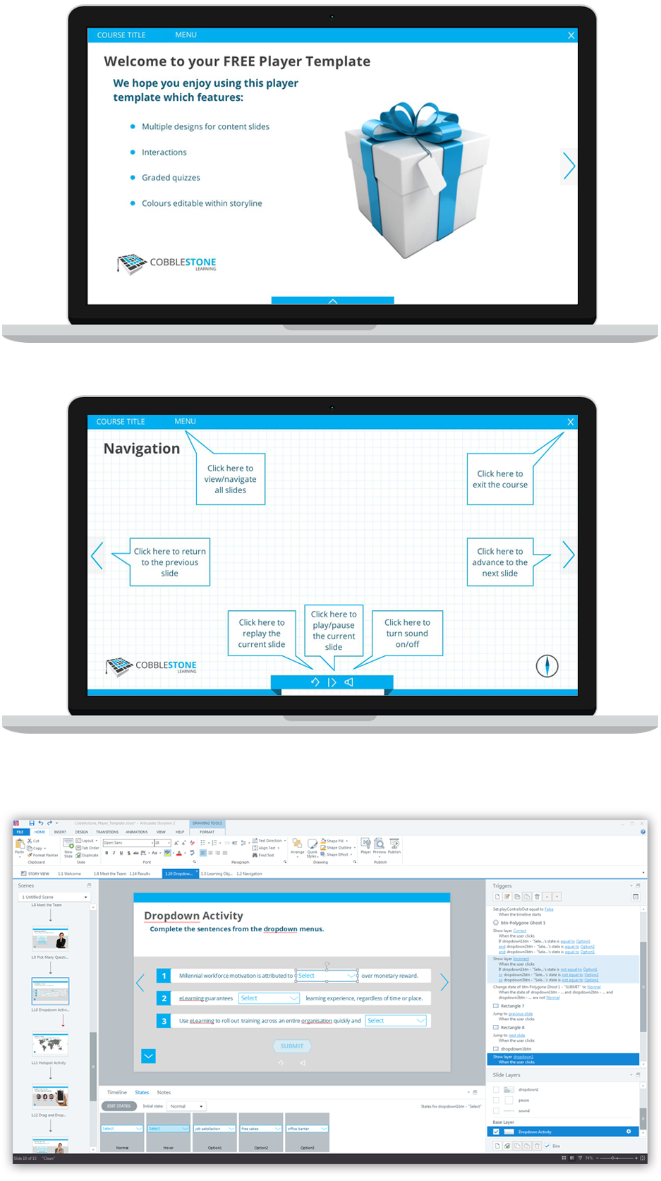 Free Storyline 2 player template and slide deck from Cobblestone ...